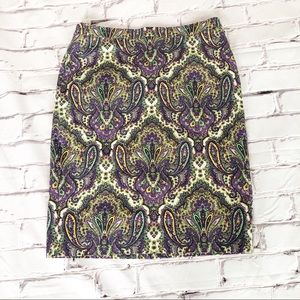 J. Crew No. 2 pencil paisley skirt size 10